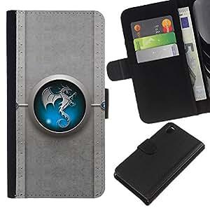 KLONGSHOP // Tirón de la caja Cartera de cuero con ranuras para tarjetas - Tribal azul del dragón de Yin yang - Sony Xperia Z3 D6603 //