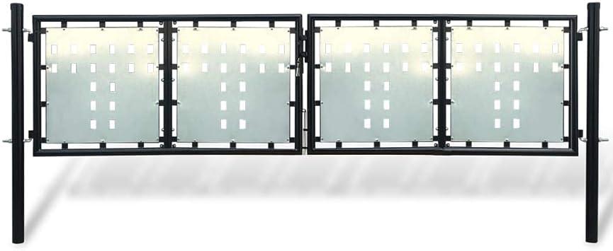 Verja Negra con dos Puertas de entrada,Puerta para su Jardín, Patio o Terraza, 300 x 125 cm: Amazon.es: Bricolaje y herramientas
