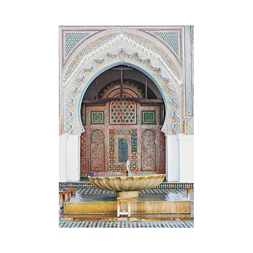 Polyester Garden Flag Outdoor Flag House Flag Banner,Arabian,Golden Historical Fountain Photo in Morocco Africa Antique Mousque Palace Heritage,Multicolor,for Wedding Anniversary Home Outdoor Garden D by iPrint
