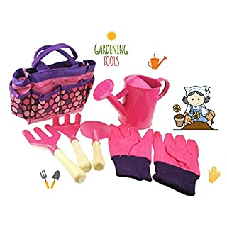 Apol Gardening Tool Set For Kids Children Includes Watering Can Gloves  Shovel Rake Fork And Carry
