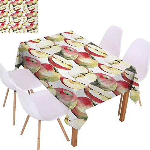 UHOO2018 Apple,Microfiber Tablecloth,Halved and Quartered Organic McIntosh Apples Gourmet Food Healthy Life,for Outdoor and Indoor Use,Ivory Red Reseda Green,70