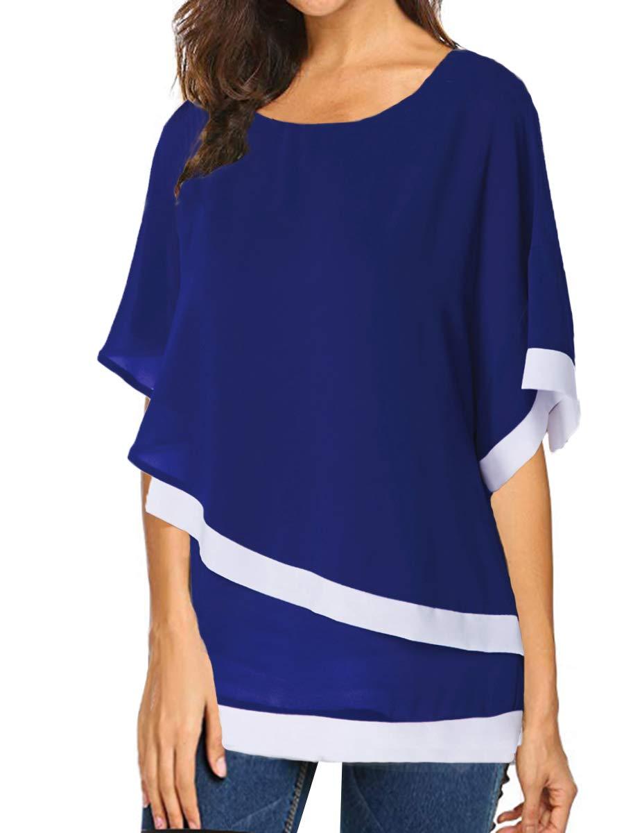 Saslax Women\'s Casual Chiffon Overlay Half Sleeve Blouse Tops Blue XL