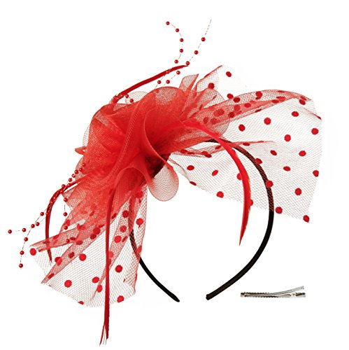 Fascinators Hat for Women Tea Party Headband Kentucky Derby Wedding Cocktail Flower Mesh Feathers Hair Clip (3-Red)]()