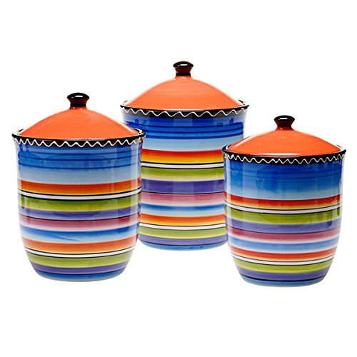 (Certified International Hand-painted Tequila Sunrise 3-piece Canister Set)