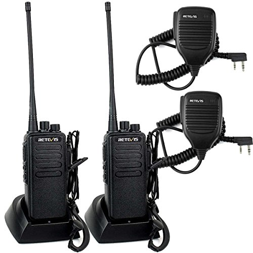 Retevis RT1 2 Way Radio High-Power VHF 16CH 3000mAh Two Way Radio with Earpiece(2 Pack) and 2 Pin Speaker Mic (2 Pack)