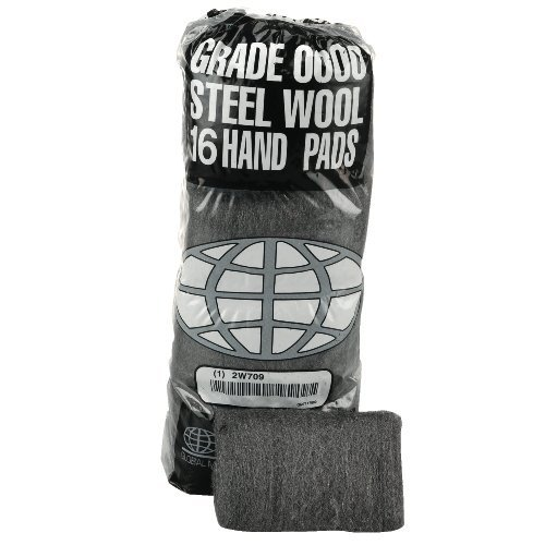 Global Material Number 4 Extra Coarse Industrial-Quality Silver Steel Wool Hand Pad, 16 pads per poly sleeve -- 12 sleeves per case. by Global Material Technologies