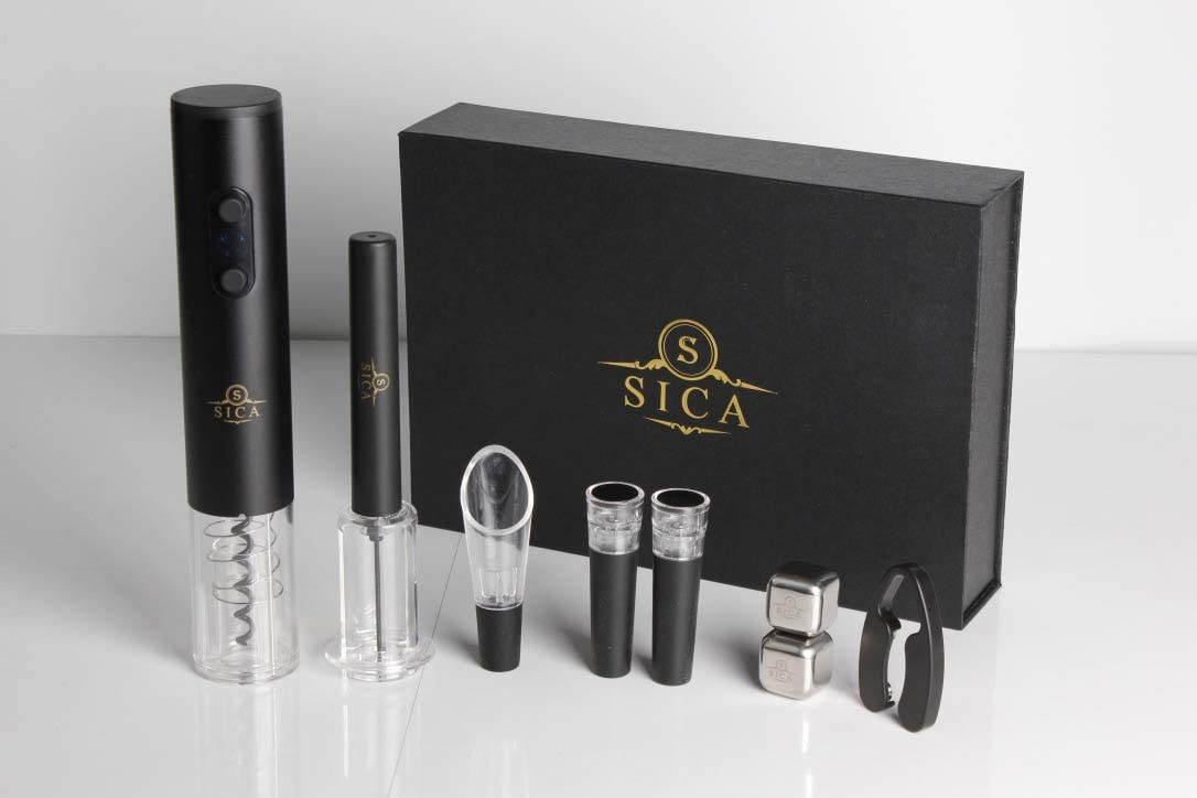 Electric Wine Opener, SICA Luxury Cordless Bottle Opener Electric Corkscrew, 2PCS Opener includes a luxury Automatic wine Opener, and Air Pressure Wine opener. 2PCS of Vacuum Stoppers, Wine Aerator Pourer, Foil Cutter and 2PCS of Luxury Stainless Steel Reusable Ice-Cube. Good Gift for Party, Housewarming, Christmas, Valentine s Day, Birthday, Weddings, Meetings, and Dinners. *Premium Box Pictured*