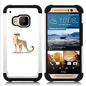 - LEOPARD WILD CAT BIG SPOTS GLASSES FUNNY ART - - Doble capa caja de la armadura Defender FOR HTC ONE M9 RetroCandy