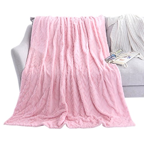 Fur Throw Blanket Chevron Brushed Fleece with Crystal Velvet Mink Reversible, Super Soft, Smooth and Cozy Warm for All Seasons (Pink, 51