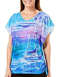 Womens Super Moon Print Flutter Sleeve Top