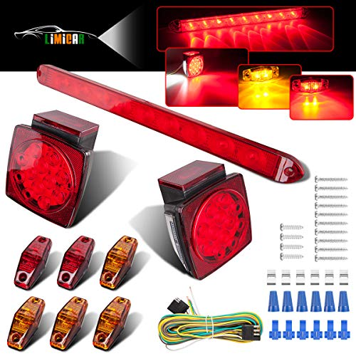 (LIMICAR LED Trailer Lights Kit 12V Waterproof Square Stop Turn Tail Truck Lights w/Wire & Bracket Red/Amber Side Fender Marker Lamps 3rd Brake ID Light Bar for Trailer Boat Camper Snowmobile RV)