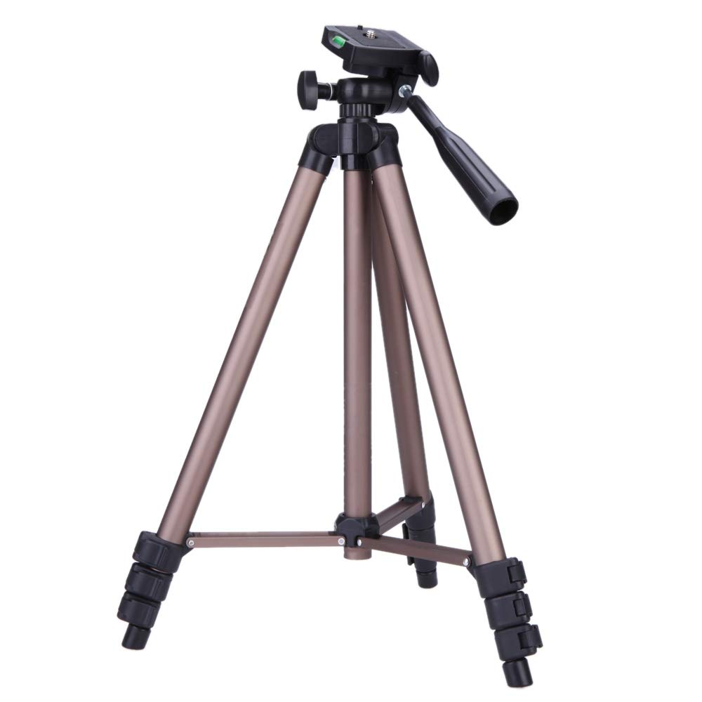 Camera WT3130 Protable Camera Tripod Stand with Rocker Arm for DSLR Camera Camcorder(Brown) Durable and Stable (Color : Brown) by JUNXI