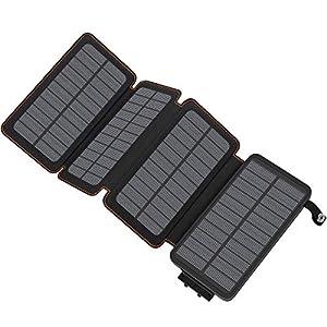 A ADDTOP Solar Powerbank 25000mAh Tragbare Solar Ladegerät mit 4 Solarpanels, Outdoor wasserfester externer Akku mit 2…