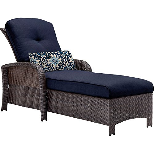 Hanover outdoor strathmere chaise lounge chair navy blue for Best price chaise lounge