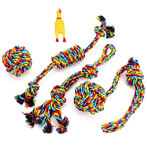 VIEWLON Dog Rope Toys, Dog Toy Set, Rope Ball, Cotton Knot, Chew Toy, Dog Interactive Toy, Beneficial to Dog's Mental…