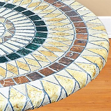 Mosaic Tuscan Tile Custom Fit Elasticized Table Cover - Mosaic Vinyl Tile Table Cover - 36 - Heavy Duty Durability - Stretches To Fit 36 - 48 inches