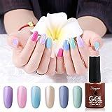 Soak Off UV Gel Nail Polish Set,YUNGSIO Nail Polish 6 Colors Gel Polish Nail Art Kit 7.5fz.oz