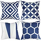 popeven blue throw pillow covers set of 4 outdoor geometric pattern cushion slipcovers 18 x 18 square accent linen decorative pillows