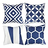 outdoor accent pillows - popeven Royal Blue Throw Pillow Covers Set of 4 Outdoor Geometric Pattern Cushion Slipcovers 18 x 18 Square Accent Linen Decorative Pillows