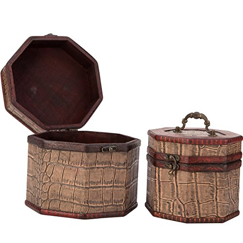 Vintage Style Crocodile Pattern Wooden Octagon Jewelry Treasure Box Storage Organizer Trinket Keepsake Chest Set of 2