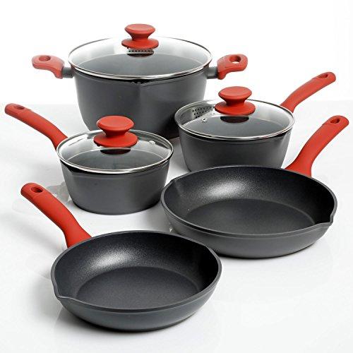Weight Watchers Livingson 8 Piece Cookware Set, Crimson Handles