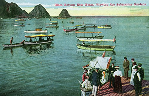 Santa Catalina Island, California - Glass Bottom Boats by Dock (24x36 SIGNED Print Master Giclee Print w/Certificate of Authenticity - Wall Decor Travel Poster)