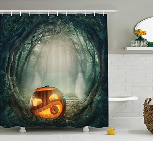 Ambesonne Halloween Shower Curtain, Drawing of Scary Halloween Pumpkin Enchanted Forest Mystic Twilight Party Art, Fabric Bathroom Decor Set with Hooks, 105 inches Extra Wide, Orange Teal -