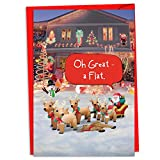 12 Boxed 'Reindeer Flat' Christmas Cards with Envelopes (4.75 x 6.625 Inch), Funny Christmas Inflatables Holiday Notes, Silly Santa & Hilarious Reindeer Christmas Decor Cards C4288XSG-B12