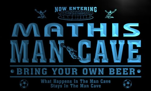 qd1483-b MATHIS Man Cave Soccer Football Bar Neon Beer Sign by AdvPro Name