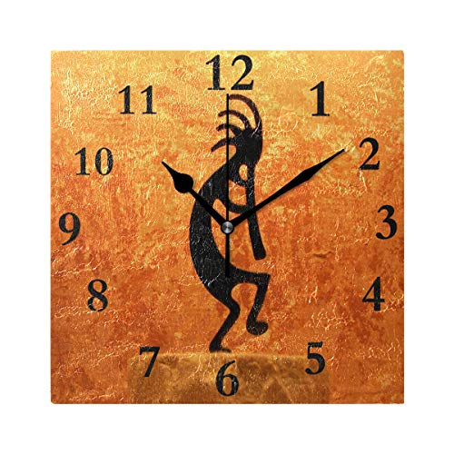 lightly Personalized Customization Kokopelli Statue Field Wall Clock for Home/Office/Kitchen/Bedroom/Living Room 7.87x7.87Inch ()