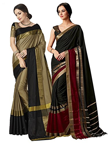 ELINA FASHION Pack of Two Sarees for Indian Women Cotton Art Silk Printed Weaving Border Saree || Sari Combo (Multi 17)
