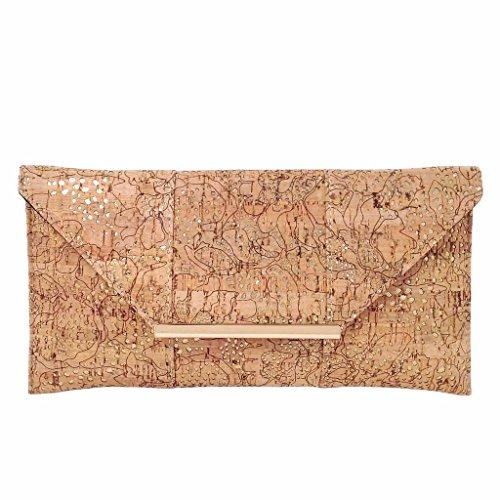 Unique Pattern Laser Cut Cork Envelope Clutch, Gold
