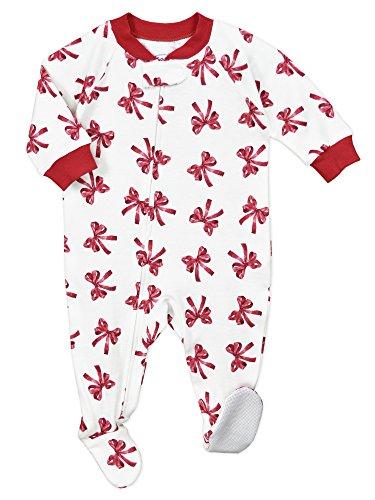 (Sara's Prints Baby Girls' Soft Footed Pajamas, New Red Ribbons-Rrb_2,)