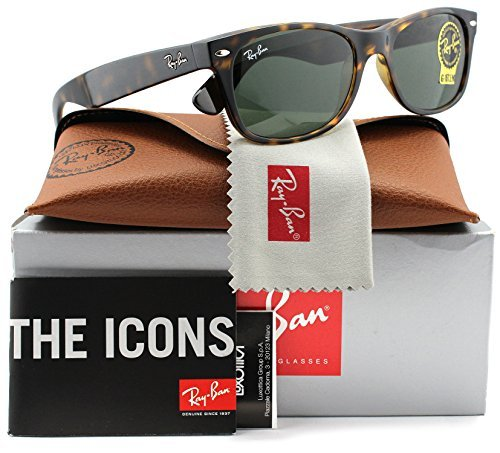 Ray-Ban RB2132 Large New Wayfarer Sunglasses Tortoise w/Crystal Green (902L) 2132 902L 55mm - Sunglasses Ban Authentic Ray