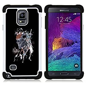 GIFT CHOICE / Defensor Cubierta de protección completa Flexible TPU Silicona + Duro PC Estuche protector Cáscara Funda Caso / Combo Case for Samsung Galaxy Note 4 SM-N910 // Punk Skull Splash //