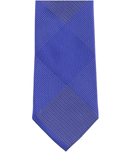 Sean John Mens Hidden Grid Silk Checkered Neck Tie Blue O/S