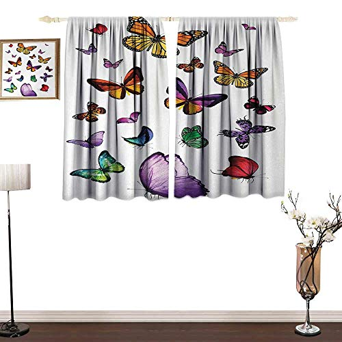 Slunmarl ButterflyThick Cloth curtainCollection of Different Colored Flying Butterflies Independent Spirit Animal Isolant Thermique Curtains for Kids Blanc Pâle Gris52×63
