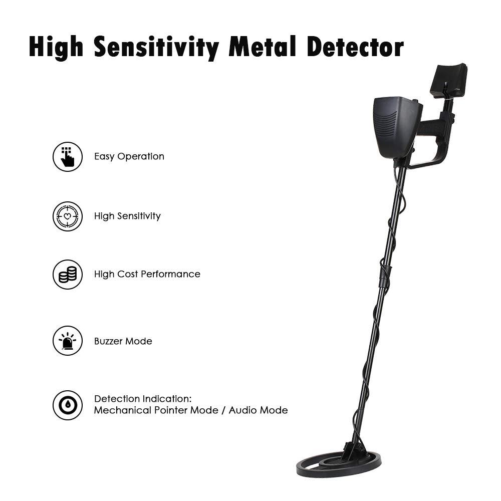 HUKOER Detector de metales Pinpoint - Detector de oro ligero con bobina impermeable - Detectores de metal DISC ajustables Más pala plegable y mochila ...