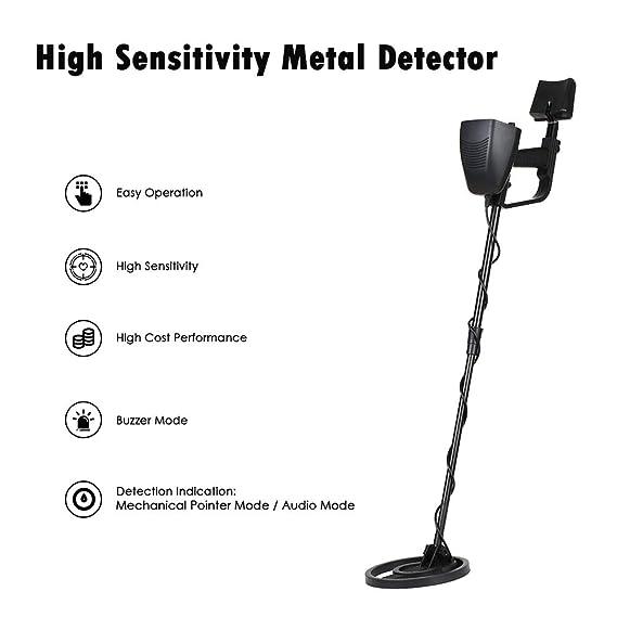 HUKOER Detector de metales Pinpoint - Detector de oro ligero con bobina impermeable - Detectores de metal DISC ajustables Más pala plegable y mochila para ...