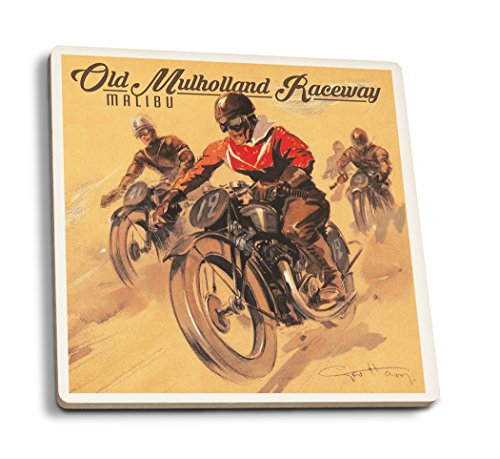 Malibu, California - Mulholland Race - Five Motorcycles Vintage Poster (Artist: Ham, Geo) c. 1928 (Set of 4 Ceramic Coasters - Cork-Backed, ()
