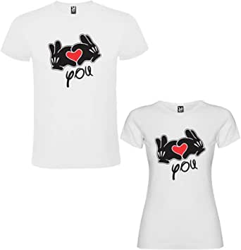Pack de 2 Camisetas Blancas para Parejas, I Love You Negro: Amazon ...
