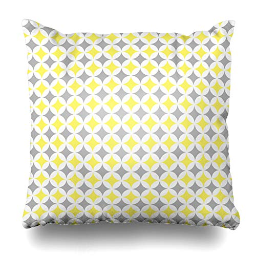 Ahawoso Throw Pillow Cover Graphic Yellow Grey Pastel Cathedral Window Pattern Quilt White Abstract Church Color Diamond Design Home Decor Pillowcase Square Size 16