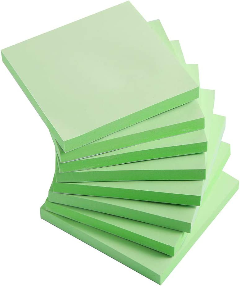 Sticky Notes 3x3 Inches, Light Green Self-Stick Pads, Easy to Post for Home, Office, Notebook, 8 Pads/Pack
