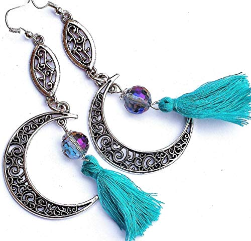 Funky Long Filigree Half Moon Bohemian Earrings with Turquoise Tassels and Crystal Glass ()
