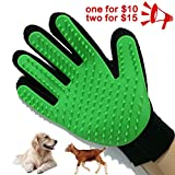 Petbob Pet Grooming Glove,Pet Deshedding Glove,Soft Gentle Pet Bath Massage Mitt,Silicone Pet Dematting Hair Removal Brush Glove Comb, For Long and Short Haired Dogs Cats Bunnies (green)