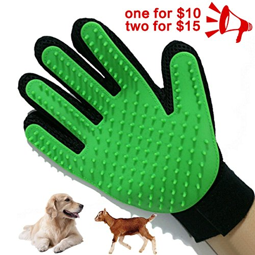 Petbob Pet Grooming Glove,Pet Deshedding Glove,Soft Gentle Pet Bath Massage Mitt,Silicone Pet Dematting Hair Removal Brush Glove Comb, For Long and Short Haired Dogs Cats Bunnies (green) by petbob