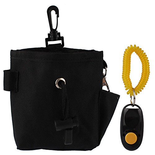 Kangkang@ Mini Canvas Clicker Training Pet Dog Cat Training Snack Bag Food Treat Storage Holder Bag with Training Clicker & Behaviour Aids (Black)