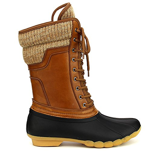 Womens Rubber Duck (Refresh Hunter-07 Women's Waterproof Rubber Rain Skimmers Duck Boots-black/cognac10)