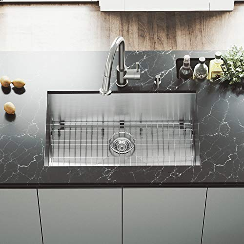(VIGO 30 inch Undermount Single Bowl 16 Gauge Stainless Steel Kitchen Sink with Harrison Stainless Steel Faucet, Grid, Strainer and Soap Dispenser)