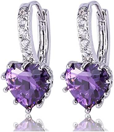 GULICX Heart shape White Gold Tone Amethyst Color Purple leverback hoop earrings